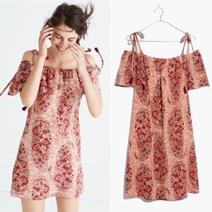 [Madewell] NWT Silk Cold Shoulder Dress Paisley